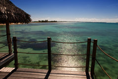 View of the sea from a wooden terrace over water. Night. Maldives Royalty Free Stock Photography
