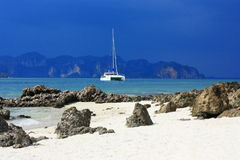 View on the sea and yacht Royalty Free Stock Photography