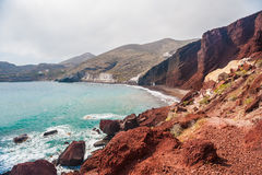 View of the seacoast and the beautiful Red beach. Santorini island, Greece Stock Photos