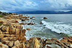 Corsica-sea coast near town Propriano. View on the seacoast near town Propriano of Corsica island in France Stock Photo