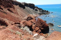 View of the seacoast and the Red beach. Santorini island, Greece stock photo