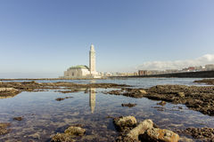 View on seafront of Grande Mosquée Hassan II in Casablanca Royalty Free Stock Photos