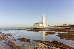 View on seafront of Grande Mosquée Hassan II in Casablanca Stock Image