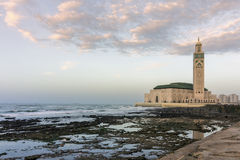 View on seafront of Grande Mosquée Hassan II in Casablanca Stock Photos