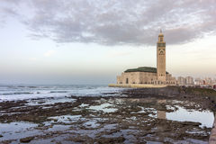 View on seafront of Grande Mosquée Hassan II in Casablanca Stock Photo