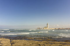View on seafront of Grande Mosquée Hassan II in Casablanca Royalty Free Stock Photography