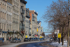 View of the seafront of the Old Montreal, Quebec, Canada in winter Stock Image