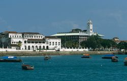 View of the seafront of Stone Town, Zanzibar stock image