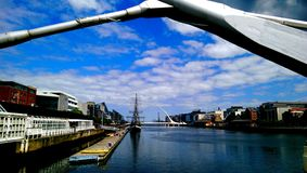 View from the Sean O'Casey Bridge, Dublin Royalty Free Stock Images