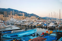 View of the seaport and the city of Monte Carlo in Monaco Royalty Free Stock Photography