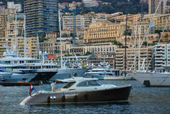 View of the seaport and the city of Monte Carlo in Monaco Stock Photos