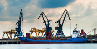 View on seaport with cranes Royalty Free Stock Photos