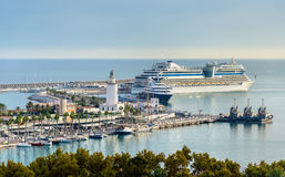 View of the seaport in Malaga, Spain Royalty Free Stock Photos