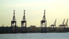 View on seaport with sailing ship on the sea stock video