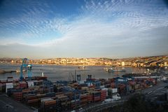 View on the seaport Valparaiso, Chile Royalty Free Stock Photo