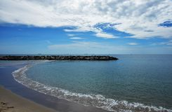 View of Seascape and the coudy Blue Sky royalty free stock photography
