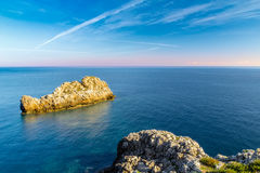 View of a seascape from the lighthouse of Capo Zafferano in Sici Stock Images