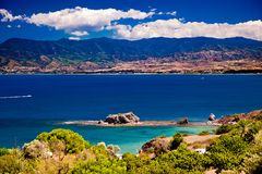 The view of seascape and mountains Stock Photography