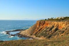View of seashore cliff in Ranchos Palos Verdes royalty free stock photo
