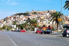 View from the seaside boulevard to the ancient fortress hill in Kavala, Greece. royalty free stock photos