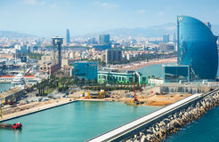 View at seaside and famous Hotel W in harbor part of Barcelona Stock Photo