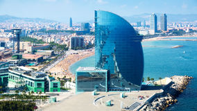 View at seaside and harbor part of the city, Barcelona Royalty Free Stock Photo