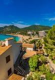 View of seaside landscape at the beach of Canyamel, Mallorca Spain. Beautiful coastline view of Canyamel tourist resort, Majorca island, Spain Mediterranean Sea Royalty Free Stock Image