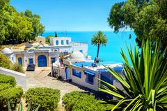 Seaside luxury resort in Sidi Bou Said. Tunisia, North Africa Stock Images