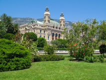 View from the seaside  to the  Monte Carlo Casino  , Monaco. View  from  the seaside  to the  Monte Carlo Casino  and beautiful  botanical  garden in sunny Royalty Free Stock Photos