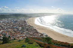 View of seaside village of Nazare Portugal Stock Photos