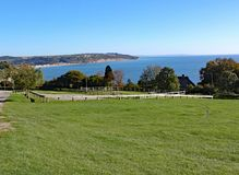 The view of Seaton Bay from the small Devon seaside village of Beer. This is accessible by walking the coastal path royalty free stock photos