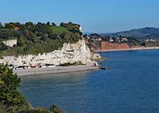 The view of Seaton Bay from the small Devon seaside village of Beer. This is accessible by walking the coastal path royalty free stock image