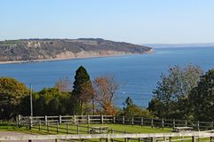 The view of Seaton Bay from the small Devon seaside village of Beer stock photography
