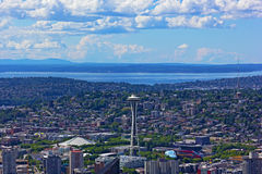 A view on Seattle city from a skyscraper height. Stock Images