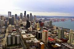 View on Seattle Downtown. Taken from Space Needle sky deck royalty free stock photo