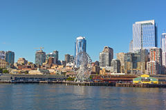 A view on Seattle downtown from the water of Puget Sound. Royalty Free Stock Photography