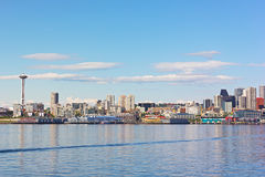 View on Seattle downtown from the waters of Puget Sound. Royalty Free Stock Photos