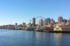 A view on Seattle downtown from the waters of Puget Sound. Royalty Free Stock Image