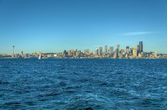 View of Puget Sound with Blue Skies and Downtown Seattle, Washington, USA stock photos