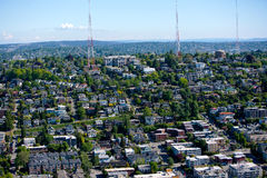 View of Seattle and radio towers from Space Needle Royalty Free Stock Images