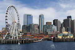View of Seattle from the sea with ferris wheel Stock Photo