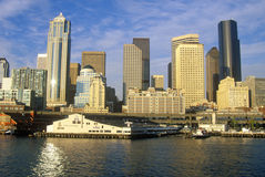 View of Seattle skyline from Bainbridge Ferry at sunset, WA Royalty Free Stock Photo