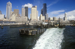 View of Seattle skyline from ferry on Puget Sound, WA Royalty Free Stock Photography