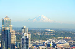 View of Seattle skyline and Mt. Rainier. View of Seattle, Washington skyline and Mount Rainier from Kerry Park Royalty Free Stock Photography