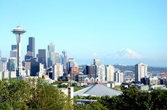 View of Seattle skyline. Amazing view of Seattle, Washington skyline with Space Needle and Mt. Rainier Royalty Free Stock Photography