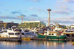 A view on Seattle Space Needle from the waters of Lake Union. Stock Photography
