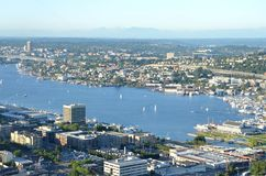 View of Seattle, Washington from above. View of Elliott Bay and Puget Sound in Seattle, Washington from the Space Needle Stock Photo