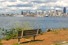 Seattle City Skyline View from Alki Beach Stock Photos