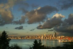 Seattle Skyline During a Dramatic Sunset and a Rain Squall Passing Through. Royalty Free Stock Photography