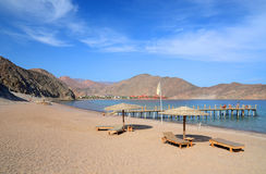 View on a secluded beach and the Gulf of Aqaba Royalty Free Stock Images